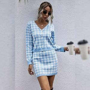 Houndstooth Button Front Sweater and Skirt Set